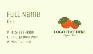 Organic Fruit Oranges Business Card