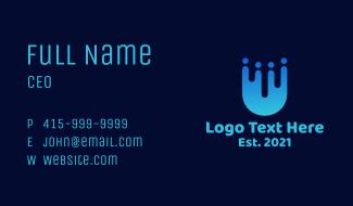 Blue People Letter U Business Card