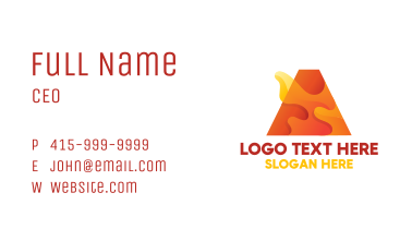 Orange Letter A Flame Business Card