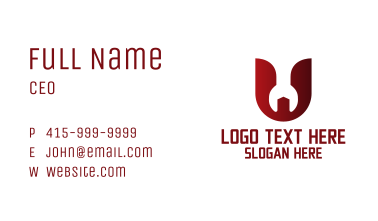 Wrench Mechanic Letter U Business Card