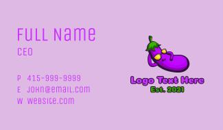 Eggplant Food Mascot Business Card