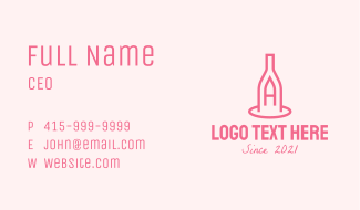 Winery Bottle Letter A Business Card