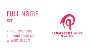 Pink Ribbon Letter P  Business Card