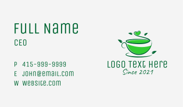 Natural Green Tea  Business Card