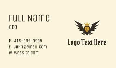 Winged Medieval Crest Letter Business Card