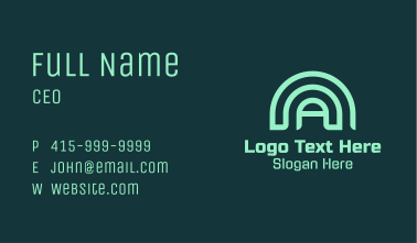 Green Dome Letter A Business Card
