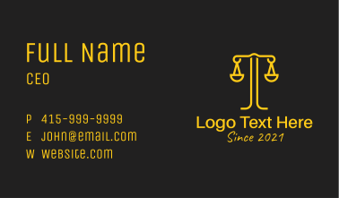 Weighing Scale Letter T Business Card