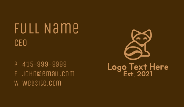 Fox Tail Coffee Bean Business Card