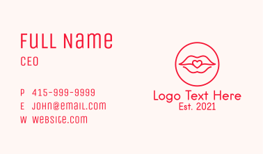 Heart Lips Badge Business Card