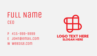 Red Grid Tile Pavement Business Card