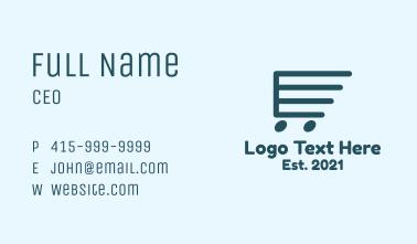 Blue Shopping Cart  Business Card