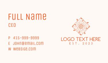 Orange Sun Emblem Business Card