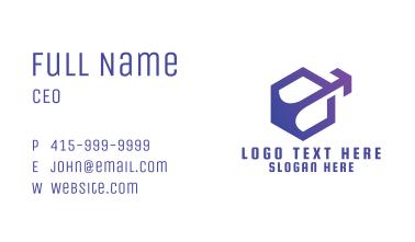 Violet Hexagon Arrow Business Card