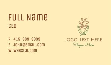 Minimalist Leafy Coffee  Business Card