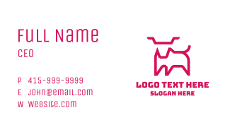 Pink Animal Outline Business Card