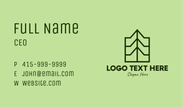 Green Geometric Mountain Business Card