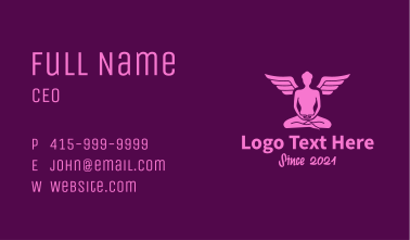 Meditating Angel Yoga Guru Business Card