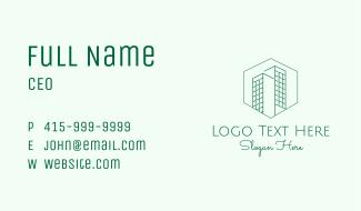 Minimalist Green Skyscrapers Business Card
