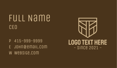 Medieval Brown Shield Business Card