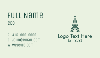 Green Outline Tower Business Card