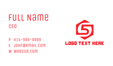 Red Hexagon Number 5 Business Card