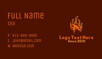 Orange Fire Bear Business Card