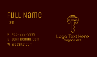 Gold Car Keys  Business Card