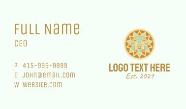 Tribal Sun Face  Business Card