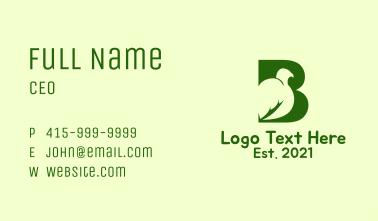 Green Bird Letter B Business Card