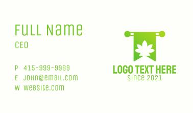 Green Cannabis Bookmark Business Card