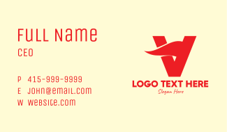 Red Wave Letter V Business Card