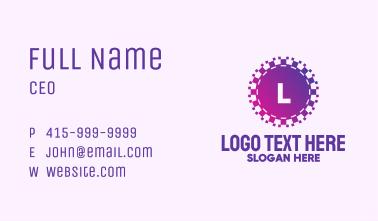 Purple Pixel Circle Letter Business Card