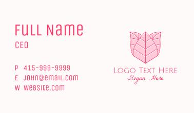 Pink Rose Line Art Business Card