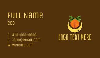 Palm Tree Beach Moon  Business Card