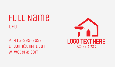 Red House Paint Roller Business Card