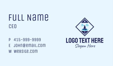 Nautical Sailboat Emblem Business Card