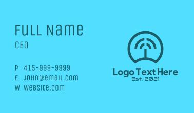 Blue Wifi Signal  Business Card