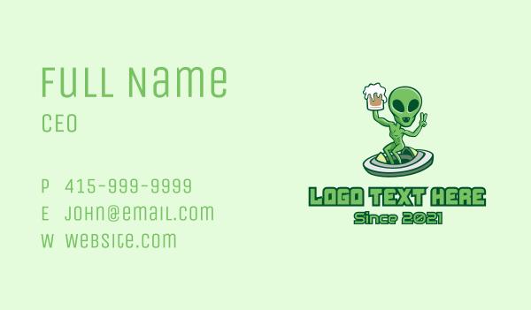 alien - Martian Alien Beer  Business card horizontal design