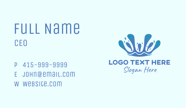 cleaning services - Water Liquid Crown Business card horizontal design