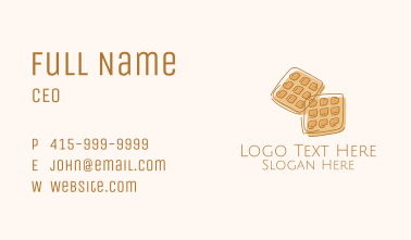 Brown Waffle Line Art Business Card