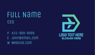 Digital Airplane Letter D Business Card
