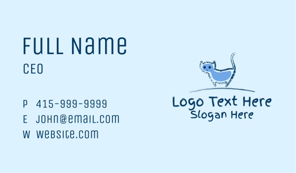 kitten - Blue Cat Doodle  Business card horizontal design