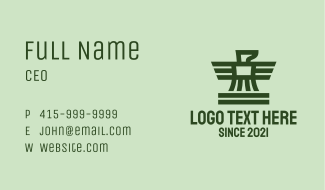 Green Military Falcon Business Card