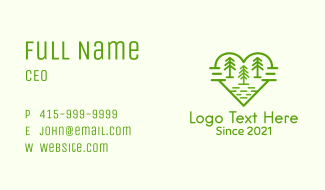 Heart Pine Tree Forest Business Card