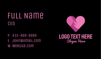 Pink Flaming Heart Business Card