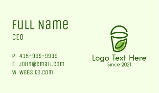 Green Leaf Juice Cup  Business Card