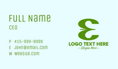 Green Company Letter E Business Card