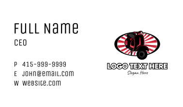 Red Motorcycle Oval Sunburst Business Card