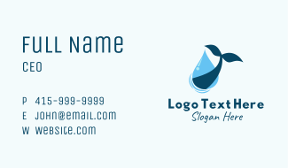 Droplet Whale Tail Business Card