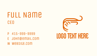 Orange Shrimp Line Art Business Card